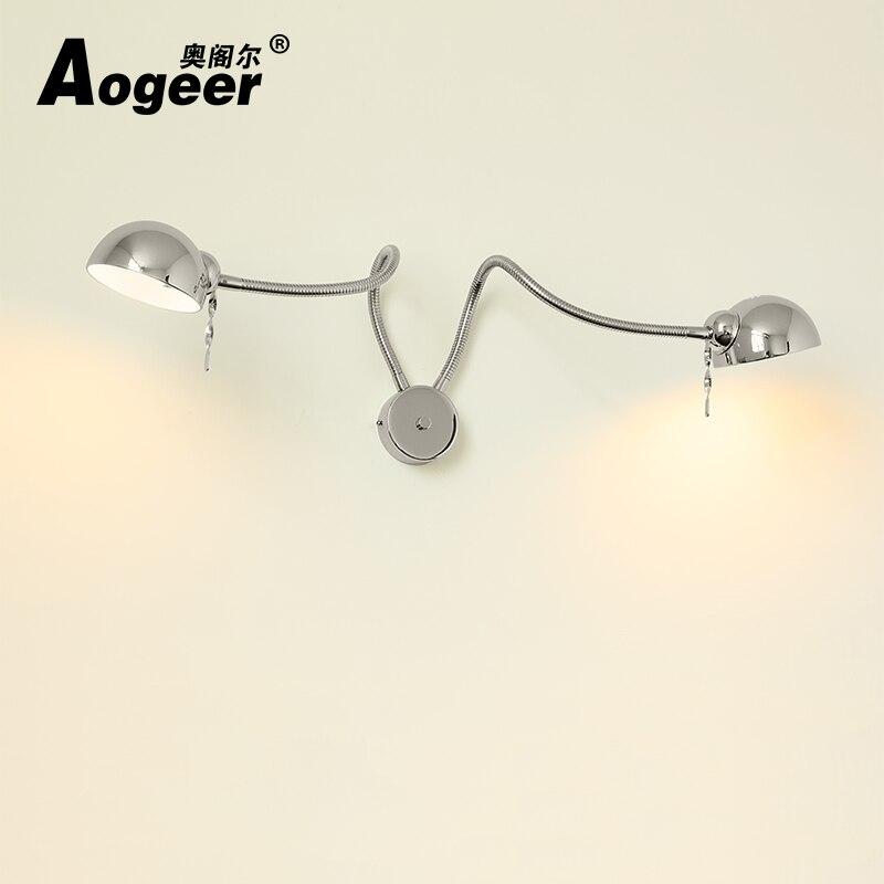 Lampe à bascule à mur LED contractée nordique lampe à couchette double chambre à coucher interrupteur de gradateur de lecture moderne, applique murale