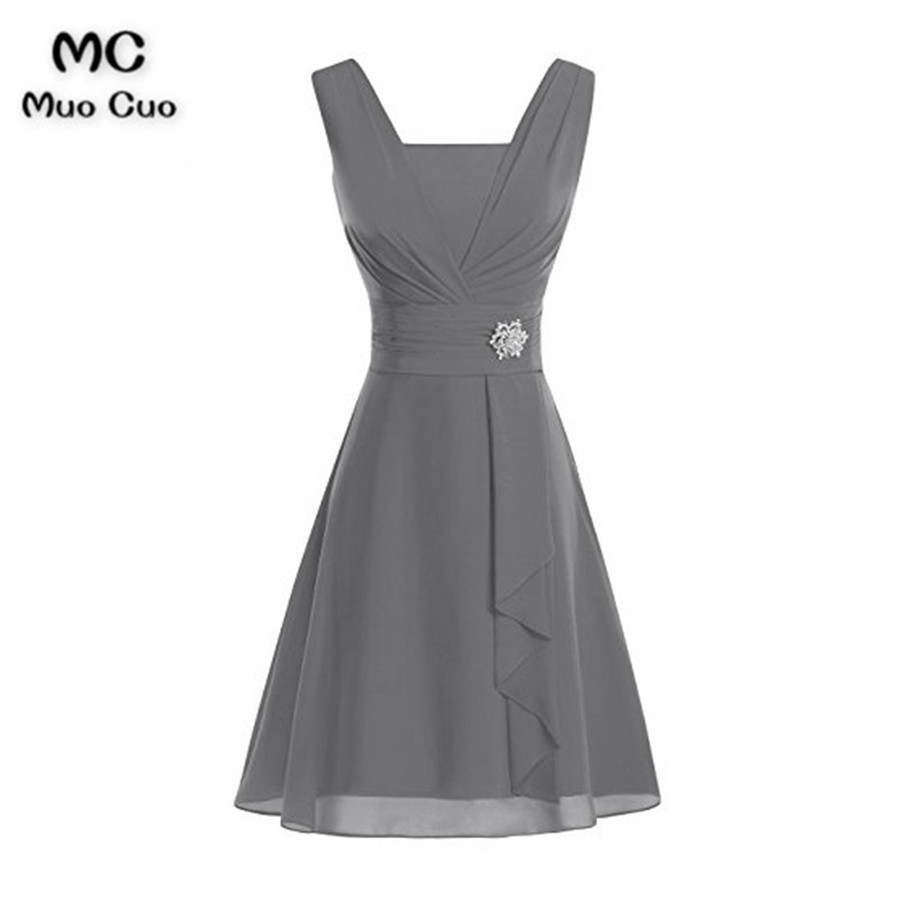 2018 Grey Mother of the Bride Dresses with Lace Tank V Neck dress for Graduation Mother