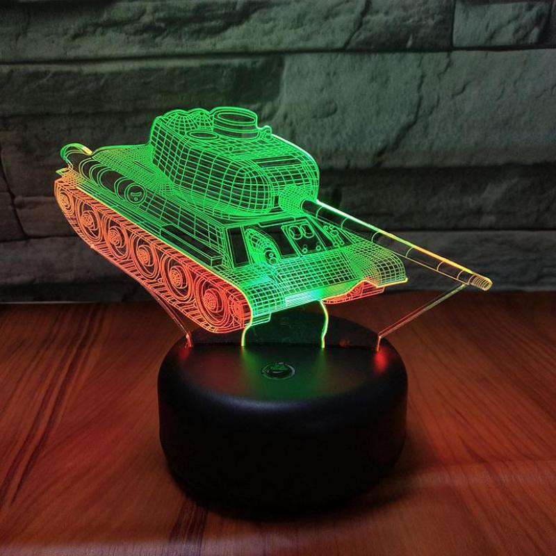 German Combat Vehicle 3d Vision Nightlight Creative Colorful Touch Charging 3D Led Night Light Novelty Led Usb 3d Lamp