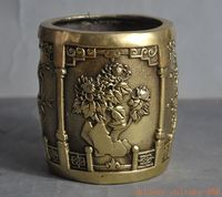 christmas chinese fengshui brass Merlin, bamboo and chrysanthemum Brush Pot pencil vase halloween