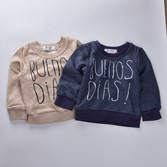 Мальчики одежда 2016 Осень дети полный рукавом buenos dias толстовка детская одежда для Девочек бобо выбирает мальчики футболка дети фуфайка