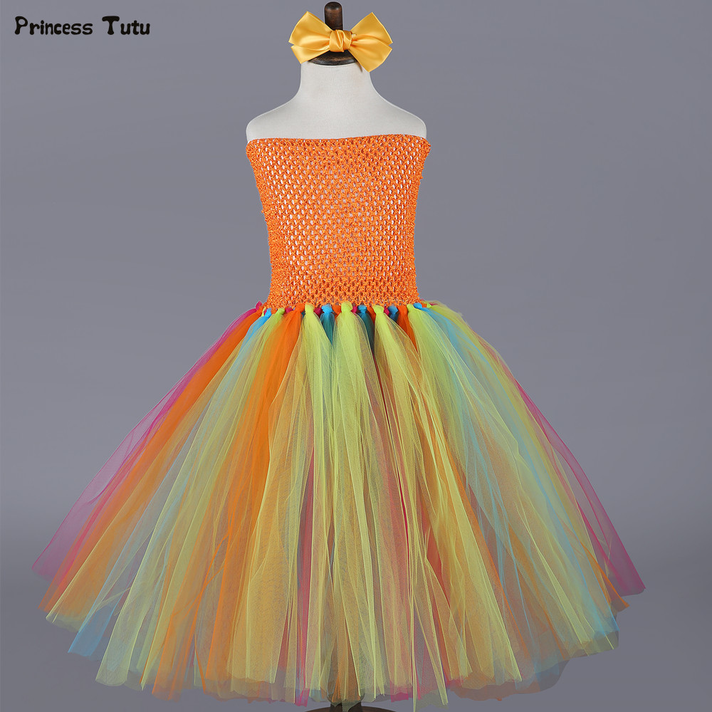 Orange Pumpkin Halloween Tutu Dress Children Girl Birthday Party Dress For Kids Girls Ball Gown Tulle Princess Dress Costume children girl tutu dress super hero girl halloween costume kids summer tutu dress party photography girl clothing