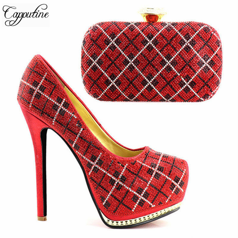 Capputine Red Color Bridal Shoes And Bag To Match Set Italian Wedding Shoes And Bag Set High Quality Matching Italian Shoes top selling italian shoes and bag to match good quality fashionable shoes and bag set for lady pme1 12