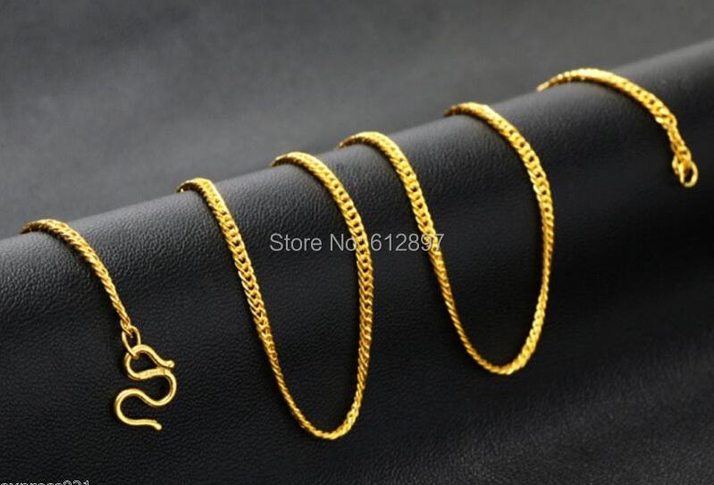 Hot sale Pure 999 24K Yellow Gold Necklace / Curb Link Chain Necklace / 3.82g hot sale pure 999 24k yellow gold women s lucky o chain star ring us 7