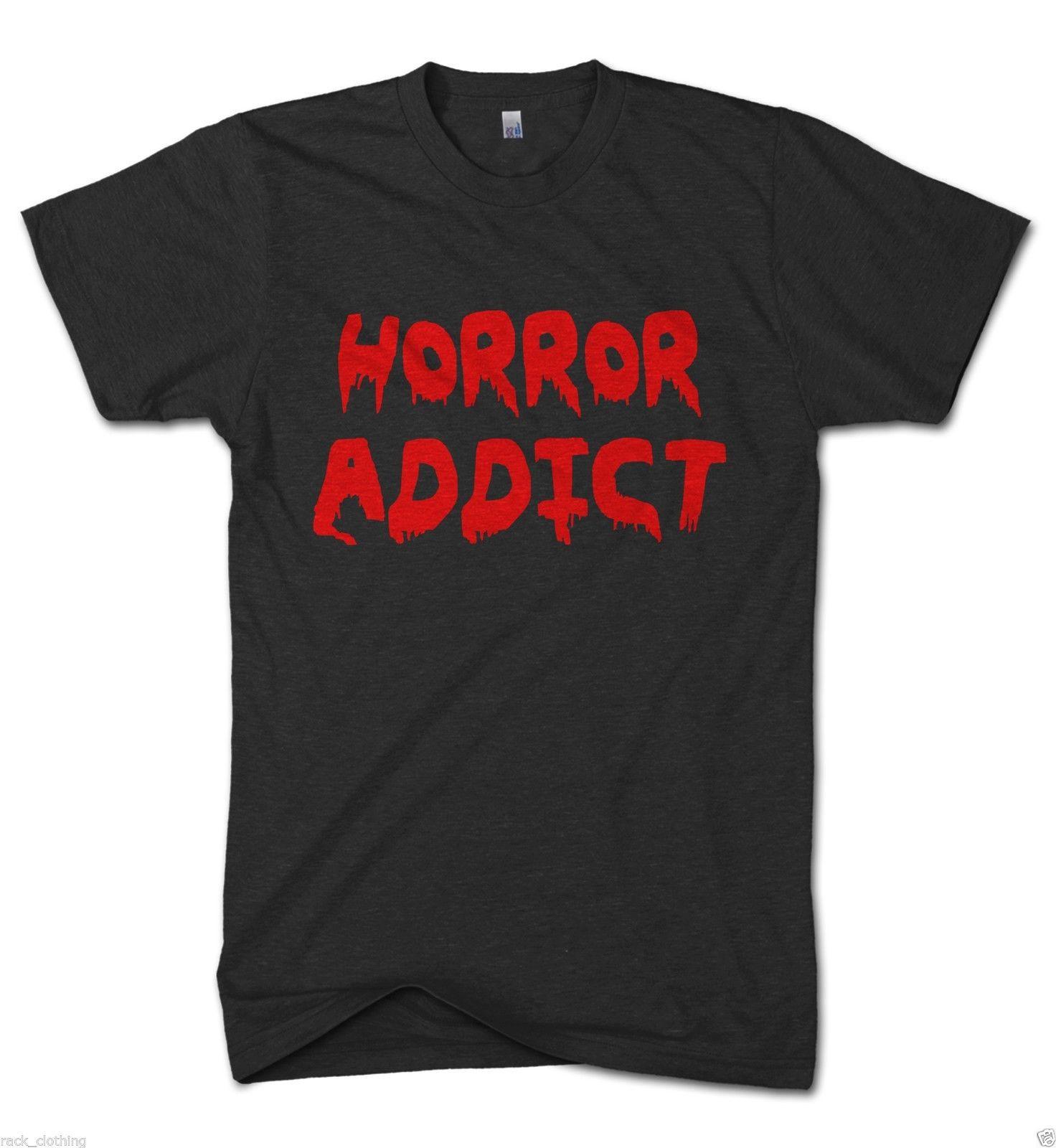 Horror Addict Funny Movie Mens Tshirt Scary Film t shirt I Love