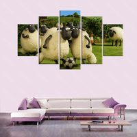 Free Shipping 5 Pcs Canvas British Animated Big Movie Shaun The Sheep Wall Art Image Modern