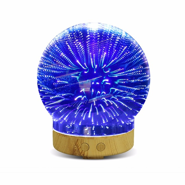 Aromatherapy Oil Diffuser 100ml Essential Oil Ultrasonic Cool Mist Humidifier With 3D Glass Led Night Light (Meteor shower)