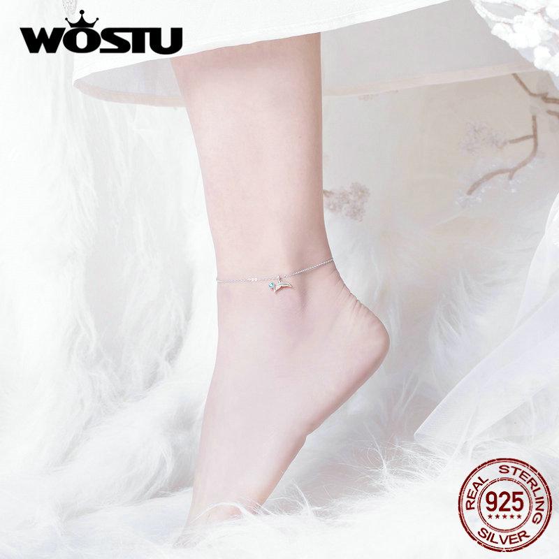 WOSTU Mermaid Tail Anklet Chain Bracelet 100% Real 925 Sterling Silver Bracelet Women New Fashion Silver 925 Jewelry FIT004