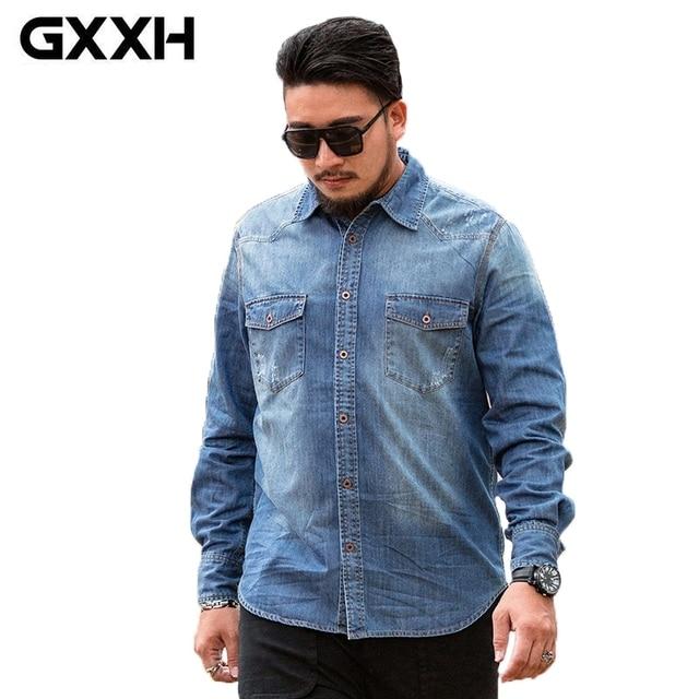 1a2c08feb6 GXXH 8XL 7XL 6XL Men Jeans Shirt Plus Size Large Show Thin Long Sleeve Denim  Shirts