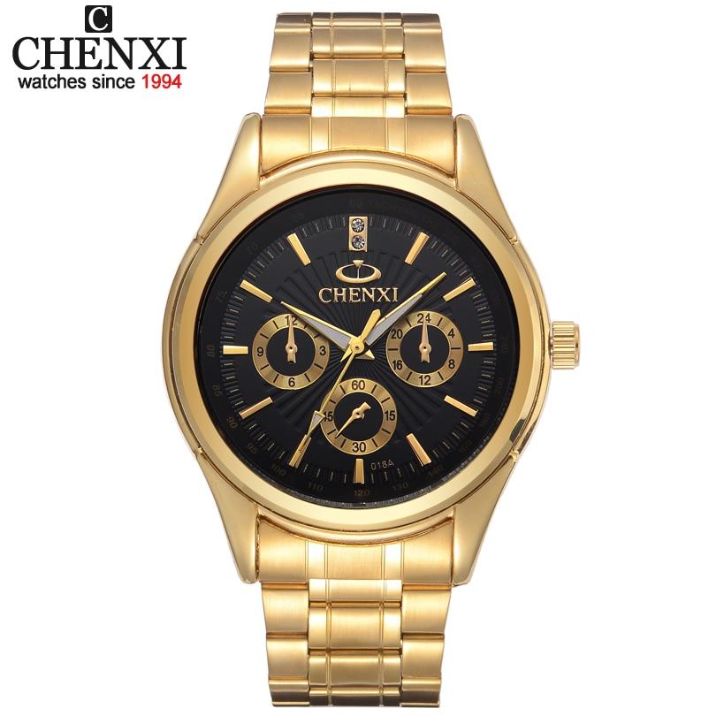 Or montres hommes Casual mode plein inoxydable montre-bracelet Étanche de luxe or D'affaires horloge Relogio Masculino quartz-montre