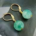 Classic Vintage Beautiful Moss Blue Agates Pendant Earrings for Women Natural Stone Jewelry