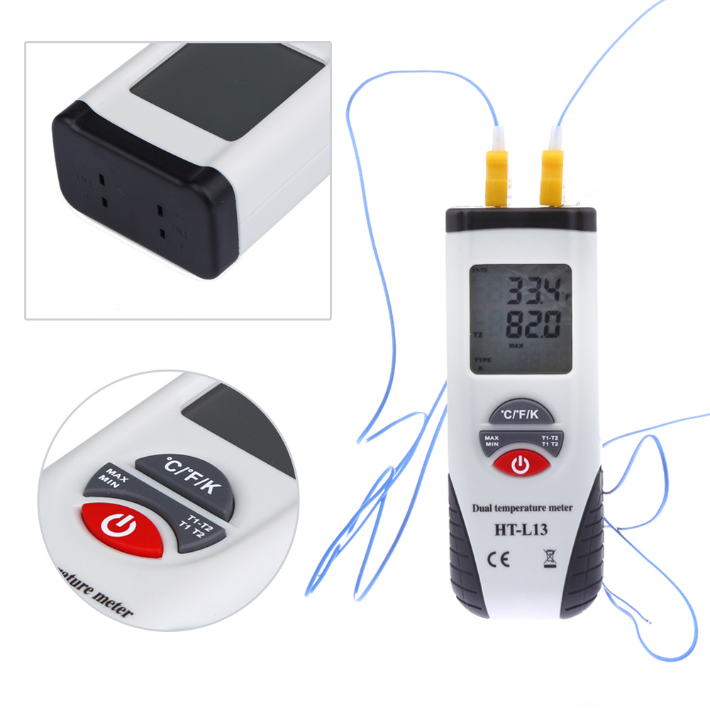 DigitalLCD K Dual Input font b Thermometer b font Dual Sense Display Thermocouple Data Hold Handheld