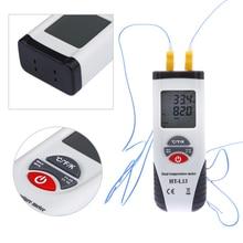 Big sale DigitalLCD K Dual Input Thermometer Dual Sense/Display Thermocouple Data Hold Handheld Temperature Meter Tester -200 To 1372 C