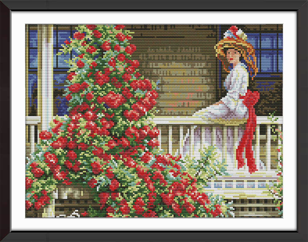 Woman On The Railing flowers diy painting counted print on the canvas DMC 11CT 14CT kits Cross Stitch embroidery needlework Sets