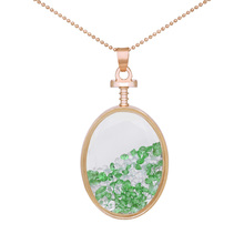 Cute Girl's Oval Crystal Necklace Rhinestone Glass Pendant Exquisite Perfume Bottles Necklaces