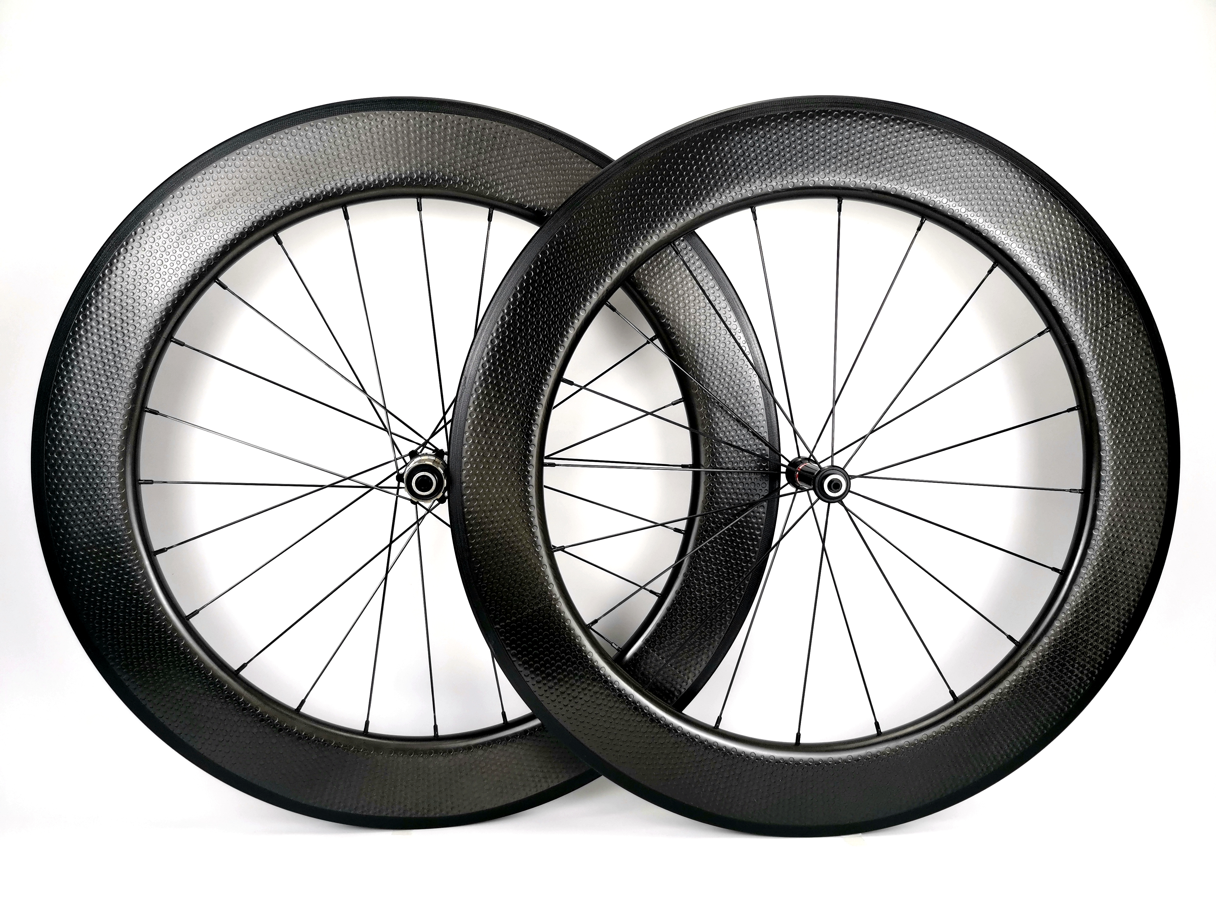 700C 80mm depth 25mm width Road carbon wheels bicyle Tubular Clincher Dimple surface carbon wheelset with