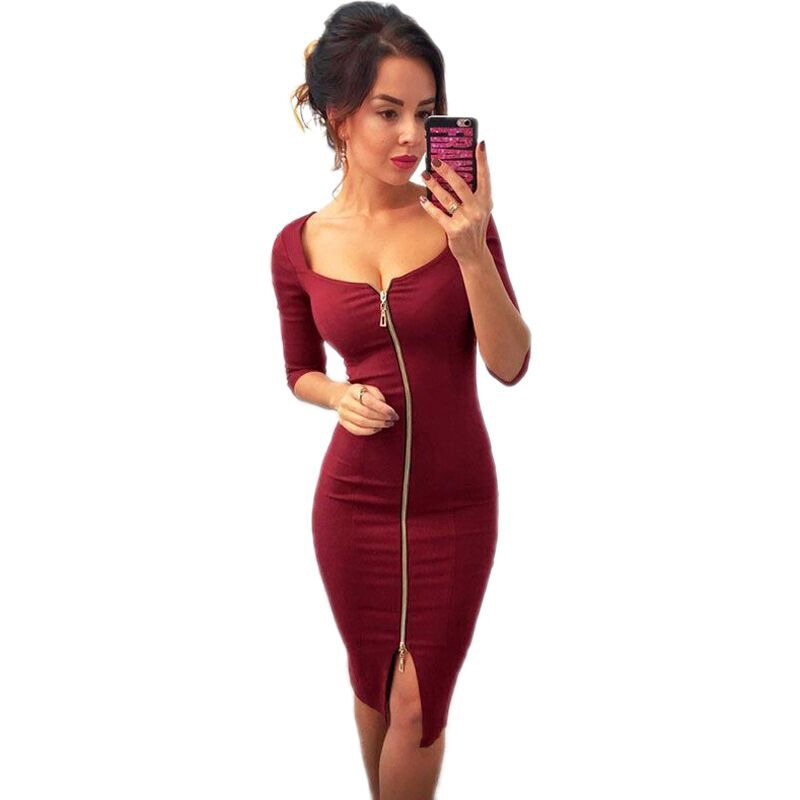 b5e3d72bc4bca0 Vrouwen Sexy Club Low Cut Bodycon Jurk Rood Fluwelen Schede 2018 Casual  Herfst Winter Rits Fashion