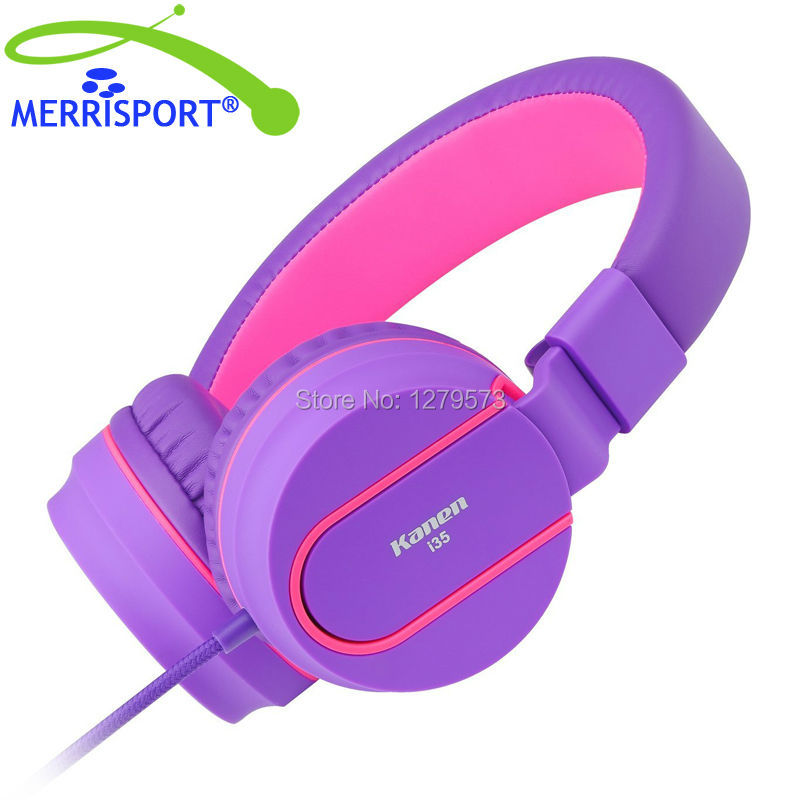 MERRISPORT Headphones with Microphone, Kids On-ear Foldable Headsets for iPhone Sumsung HTC Huawei Laptop Computer Mp3/4 Purple merrisport wireless bluetooth foldable over ear headphones headsets with mic for for cellphones ipad iphone laptop rose gold