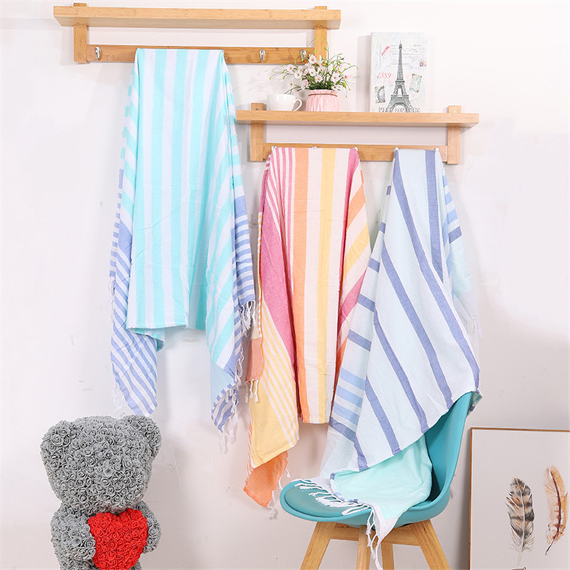 Two Layer Turkish Beach Towels 100% Cotton Stripes Thin