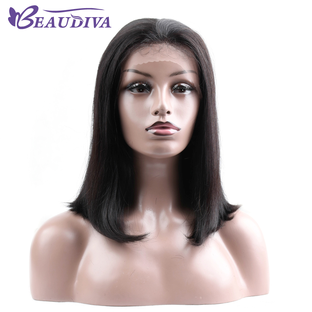 Brazilian Hair Lace Front Human Hair Wig Short Bob Wigs For Women Black Brazilian Straight Hair 130% Density Wigs 12-16 Inches