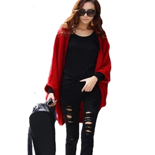 Women Sweater Cardigan Autumn Casual Long Sleeve Knitted Cardigan Female Batwing Sleeves Sweater Coat Women Woolen Cardigan Tops(China)