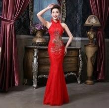 Shanghai Story Bridesmaid dresses Vintage halter mermaid qipao Wedding dress Chinese Cheongsam dress sexy apparel the style