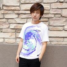 Paisley Impresión Cosplay T-shirt de Anime EVA Algodón Camisetas Púrpura/Amarillo Estilo Hombres de la Camiseta de Mujeres Tops de Verano