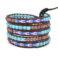 Trendy Natural stone with selected glass beads turquoise Wrap leather Bracelet handmade Leather chain fashion jewelry