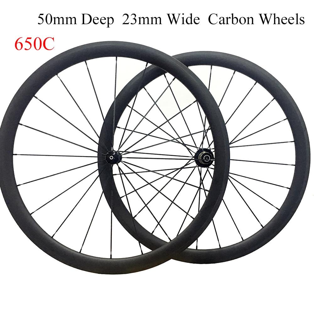 full carbon fiber tubular bike wheels 50mm Deep with free brake pads