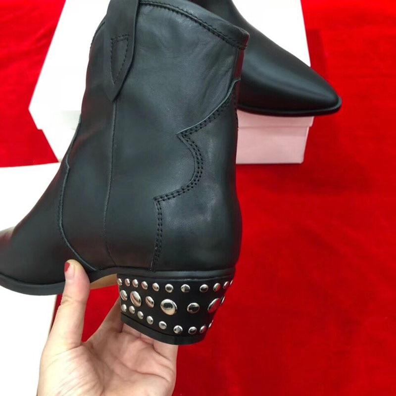 En Pointu Cheville Bottes 2018 Véritable Étrange Rivet Noir Talon Femme Cuir Rétro Chic Bout Martin 5wA8qAUT