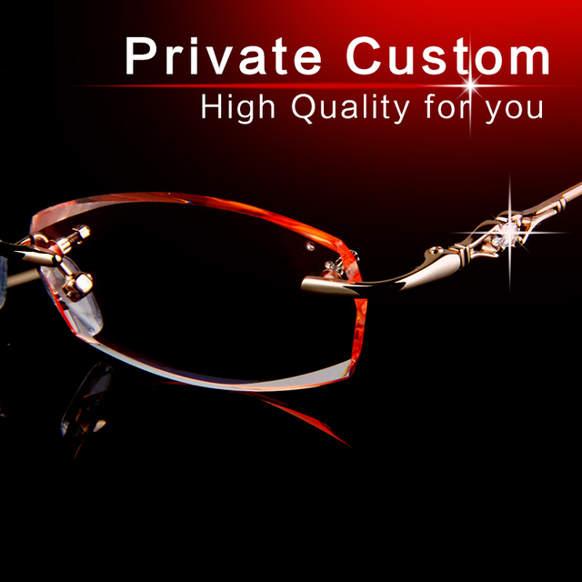 Óculos Sem Armação tecnologia de corte de Diamante óculos óculos de lente clara marca armações de óculos de olho para as mulheres Anti fadiga óculos Para Presbiopia 707