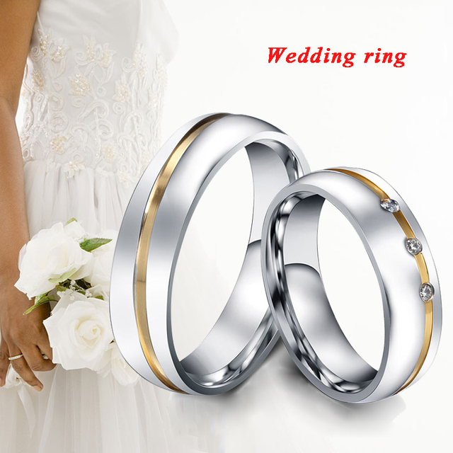 Romantic Wedding Rings For Lover Silver AAA Zircon Stainless Steel Couple Rings Engagement Party Promise Ring Party Gift