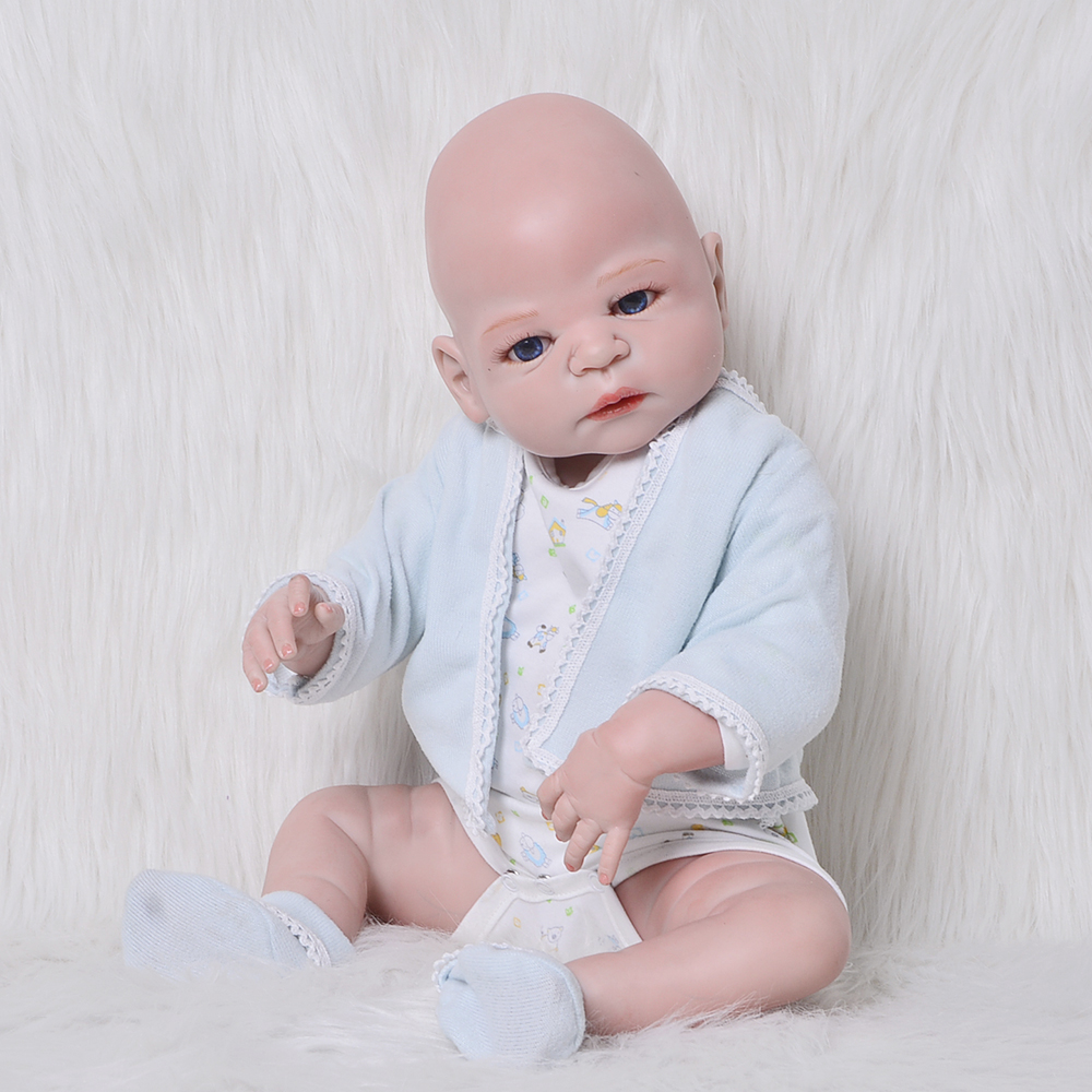 23 New Design Bald Boy Baby Doll 57 cm Full Silicone Vinyl Lifelike Reborn Doll Toys For Toddler Playmate Holiday Gift Bath Toy pursue 22 56 cm big smile face reborn boy toddler baby doll cotton body vinyl silicone baby boy doll for children birthday gift