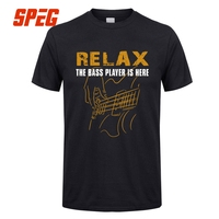 T Shirts For Men Bass PlayerRelax The Bass Player Is Here Acoustic Electric Guitars Music Man