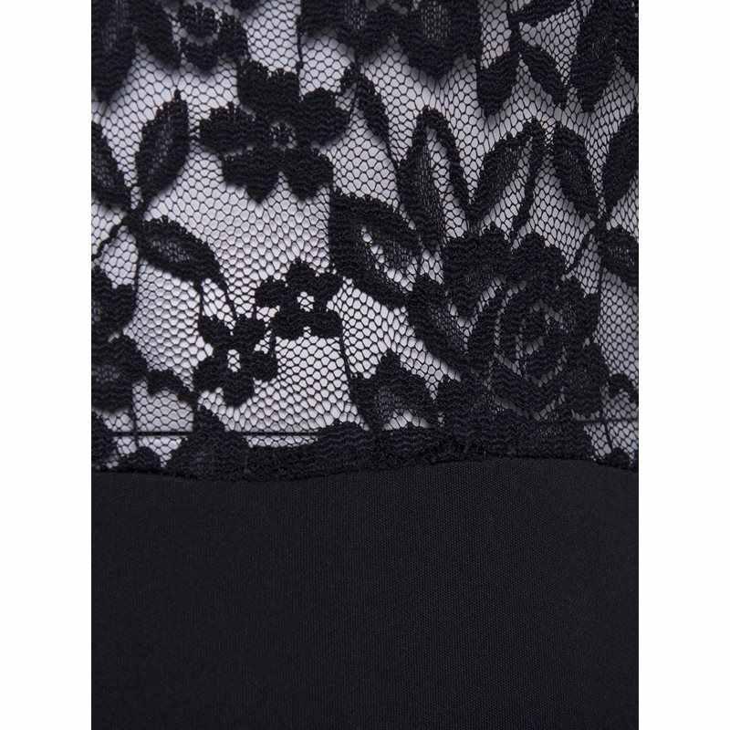 Сексуальные кружевные вечерние платья женские новые большие размеры Элегантные Вечерние черные расклешенные Длинные рукава прозрачные крючком Цветочные женские облегающие платья