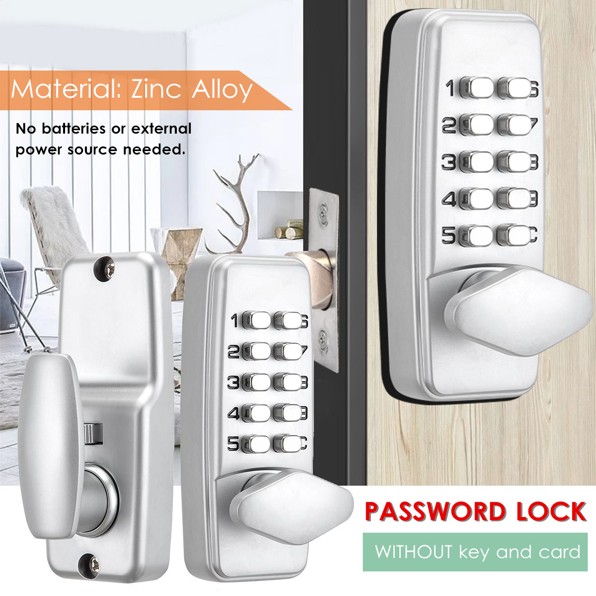 Mechanical Door Lock Security Password Lock Digital Code Entry Exterior Mechanism Access Control Lock Accessories Keyless image