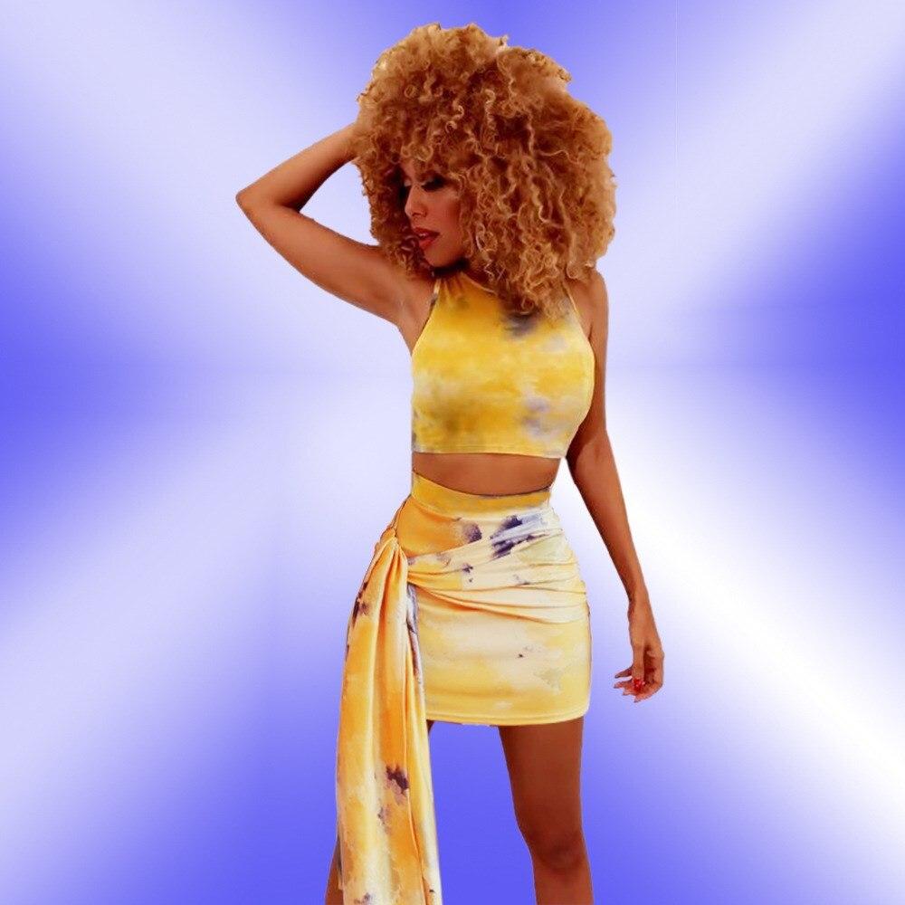 Fashion Women Lace Up Tank Bandage Crop Top And Mini Skirts Club Sleeveless O Neck Belt Sexy Two Piece Set
