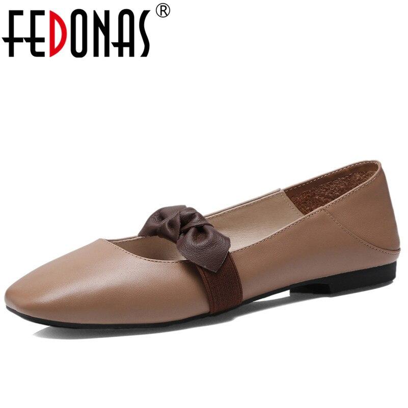 Fedonas 레트로 스퀘어 발가락 나비 매듭 발레 플랫 신발 여성 얕은 소프트 정품 가죽 신발 fachion 컴포트 캐주얼 신발-에서여성용 플랫부터 신발 의  그룹 1