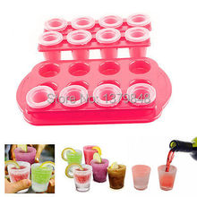 12 Ice Cold Shot Glass Set Frozen Ice Mold Maker Serving Tray Party Bar Shoote