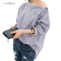 2017 Womens Striped Sexy Skew Collar Loose Full Shirts Batwing Sleeve Blouse Women Button Shirt Tops Spring And Autumn Christmas