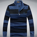 Free Shipping Autumn New Arrive men's long-sleeved shirt POLO lapel men's casual POLO shirt Striped Long Sleeve Cotton Pullover