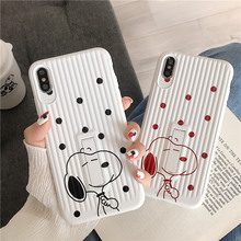 Cartoon dog stand holder phone case for iphone xr x xs xsmax red black dots stripe cover 6 6s 7 8 plus soft fundas