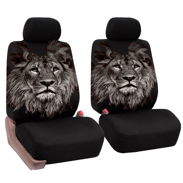 O SHI CAR 2 pcs Lion print front seat cover Universal personality car covers Protective seats Automotive interior decoration