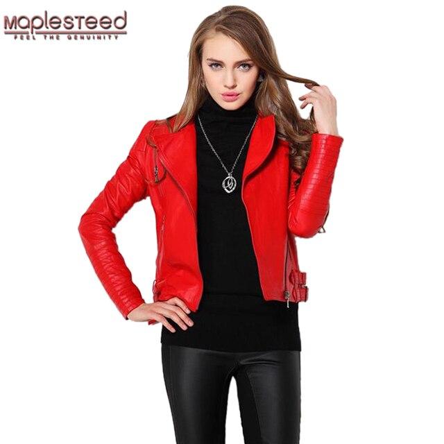 9b7b823c757 US $89.24 32% OFF|MAPLESTEED Women Leather Jacket 100% Sheepskin Red Black  Fashion Slim Fit Women's Leather Jacket Women Leather Coat Biker 063-in ...