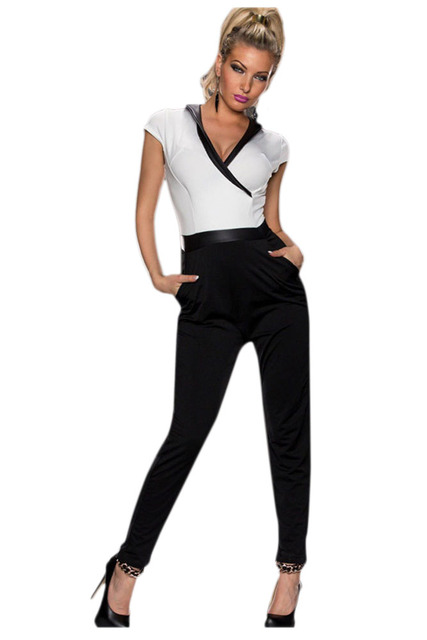 2017 Summer Romper Black White Individual V-neck Jumpsuit Short Sleeve and Full Length Pants Sexy Overalls LC6451