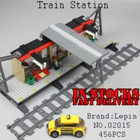 Lepin 02015 456pcs City Series Train Station Car Styling Building Blocks Bricks Toys For Children Gifts