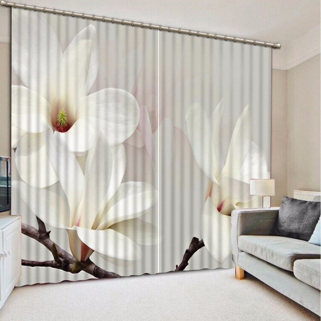 Fashion Customized 3d Curtain White Background Magnolia Flowers