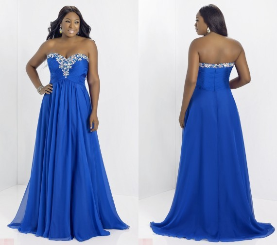 Beaded Sweetheart Chiffon Royal Blue Prom Dresses Plus Size Elegant
