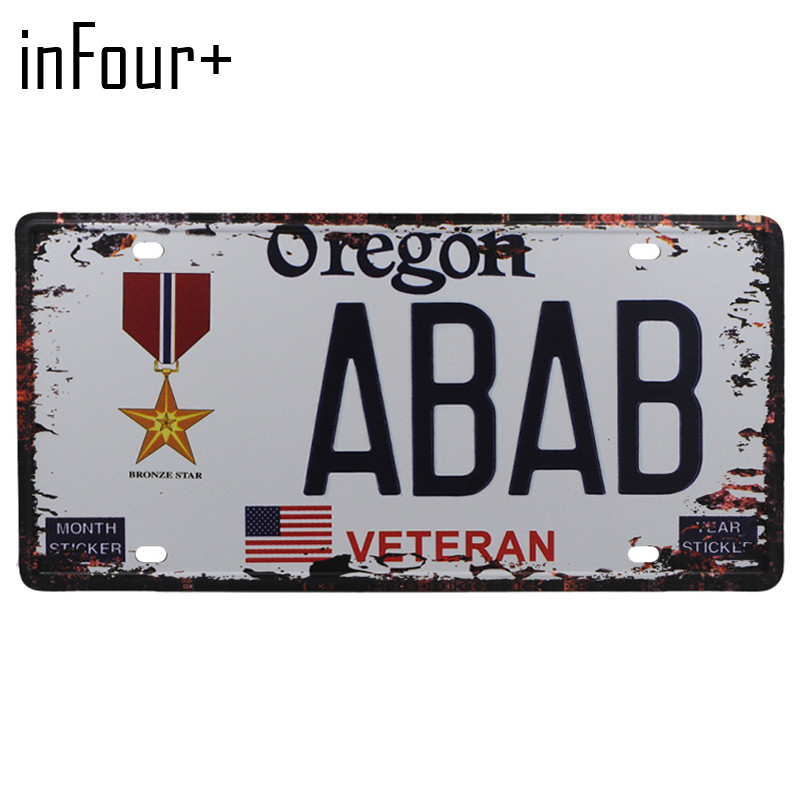[inFour+] ABAB License Plate Metal Plate Car Number Tin Sign Bar Pub Cafe Home Decor Metal Sign Garage Painting Plaques Signs