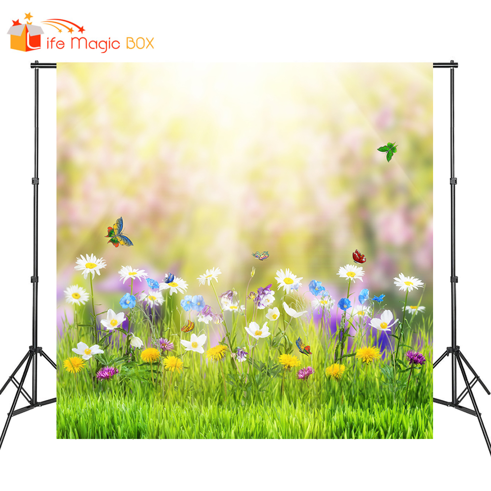 10x12 FT Photo Backdrops,Circus Under The Clear Sky with Bunch of Balloons Wildflowers Grassland Traveling Background for Baby Shower Birthday Wedding Bridal Shower Party Decoration Photo Studio